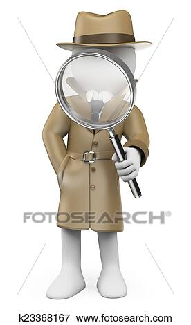 Stock illustration of 3d white people detective private for Disegno 3d free