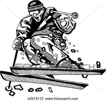 Clipart of Skiing & Snowboarding k4513113 - Search Clip Art ...