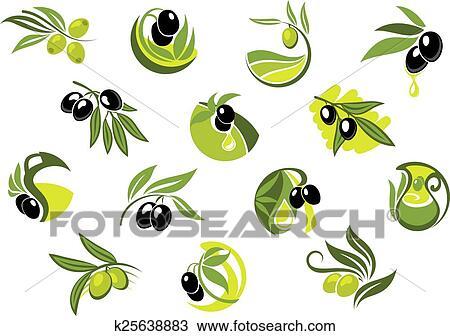 clipart olivier branches lustr olives k25638883. Black Bedroom Furniture Sets. Home Design Ideas