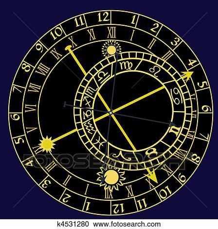 Clipart Of Astronomical Clock K4531280 Search Clip Art