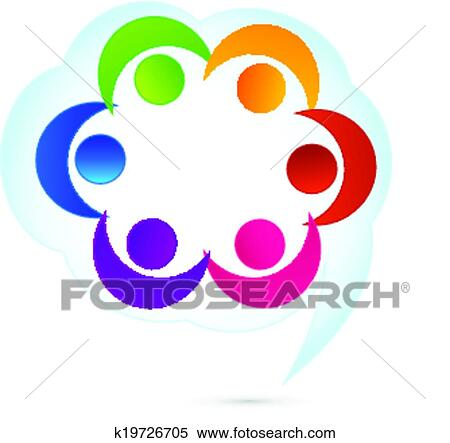 clipart of teamwork cloud people logo k19726705 search clip art rh fotosearch com teamwork clip art pictures free teamwork clip art pictures