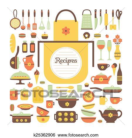 스톡 일러스트 - 세트, 의, 부엌 기구, 와..., 음식. k25362906 - 클립 ...