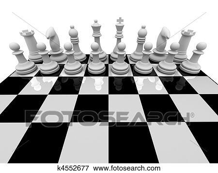 国际象棋棋子, 在上, chessboard, 隔离, 在怀特上, 背景.图片