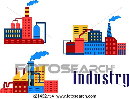 clipart of flat factory industrial buildings k21432754 search clip rh fotosearch com clip art of buildings and tools clip art of building a house