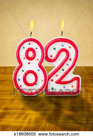 Stock Image Of Burning Birthday Candles Number 82
