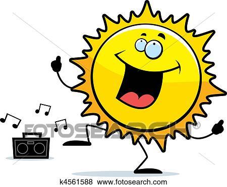 剪贴画 - 太阳, 跳舞