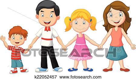 clip art of happy family holding hands k22052457 search clipart rh fotosearch com happy family picture clipart happy family clipart png