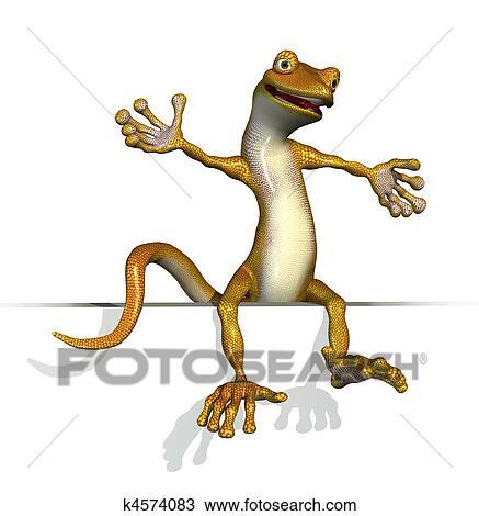 Disegno geco seduta su un bordo k4574083 cerca for Disegno geco