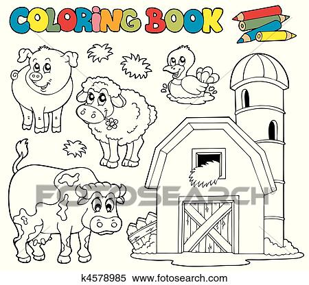 Clipart of Coloring book with farm animals 1 k4578985 - Search ...