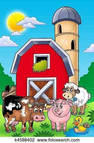 Clip Art Of Big Red Barn With Farm Animals K4588402