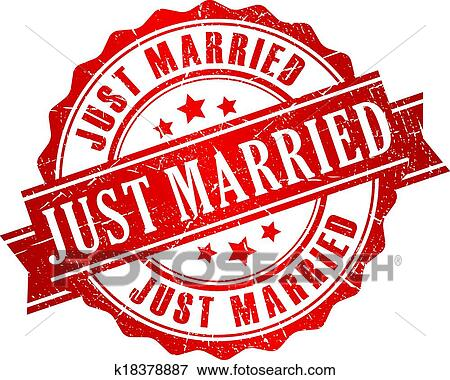 Clip Art of Just married vector stamp k18378887 - Search Clipart ...