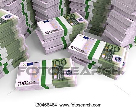 手绘图 - 一百欧元, banknotes, 背景.图片