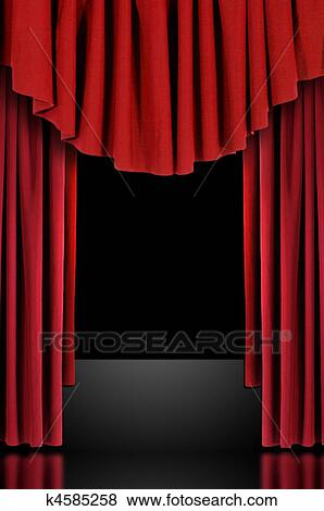 Pictures Of Red Theatre Stage Draped Curtains K4585258