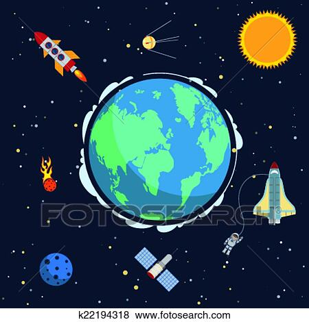 Image result for Earth and space clipart