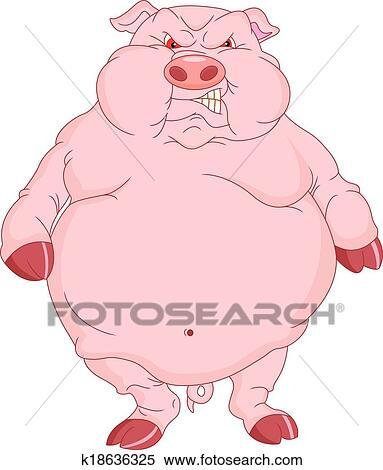Clipart mignon cochon dessin anim k18636325 - Dessin cochon mignon ...