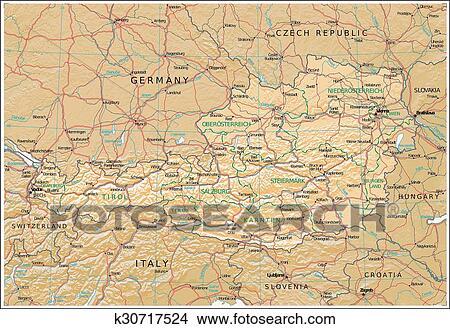 地囹kΈ�_绘画/图画 - 奥地利, physiography, 地图 k30717524