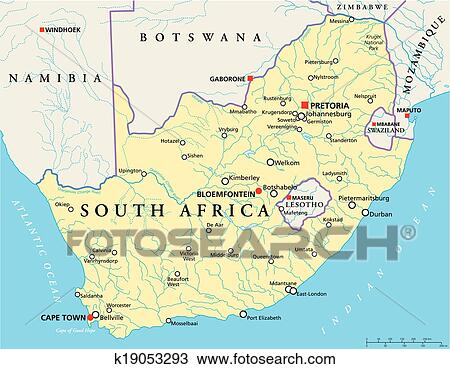 Clipart of South Africa Political Map k19053293 Search Clip Art