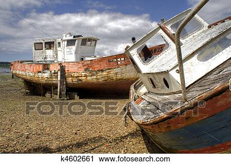 Stock Photography of two shipwrecks k4602661 - Search Stock Photos ...