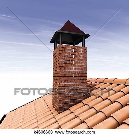 Drawing Of Chimney Brick K4606663 Search Clipart