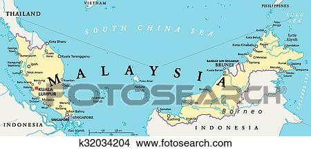 Clipart of Malaysia Political Map k32034204 Search Clip Art