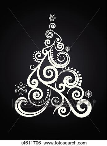 Clip art weihnachtsbaum 5 k4611706 suche clipart poster illustrationen zeichnungen und - Schwarzer weihnachtsbaum ...