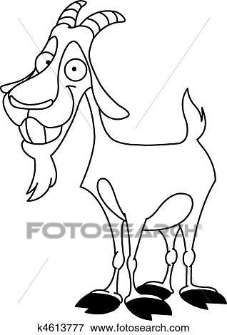 Clip art delineato capra billy k4613777 cerca clipart - Immagini da colorare capra ...