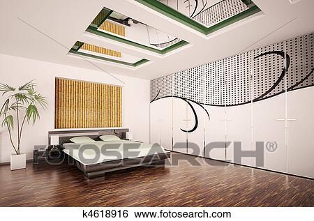 Stockmotiver   moderne, soveværelse, interior, 3, render k4618916 ...