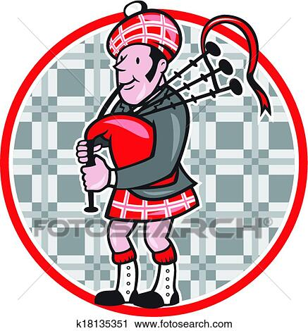 clipart of scotsman bagpiper playing bagpipes cartoon k18135351 rh fotosearch com bagpipes clipart bagpipes clipart free