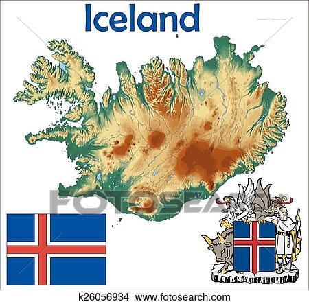剪贴画 - 冰岛, 地图, 旗, 上衣