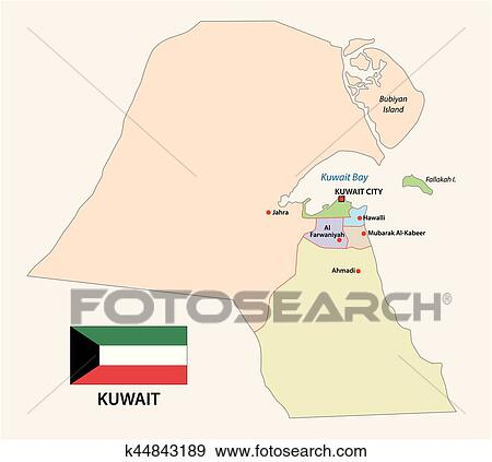 Clip Art of kuwait administrative and political map with flag