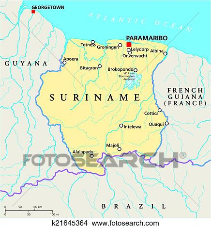 Clipart of Suriname Political Map k21645364 Search Clip Art