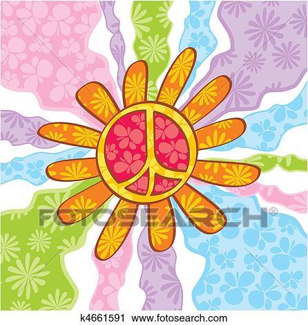 Clipart Of Hippie Peace Symbol K4661591 Search Clip Art