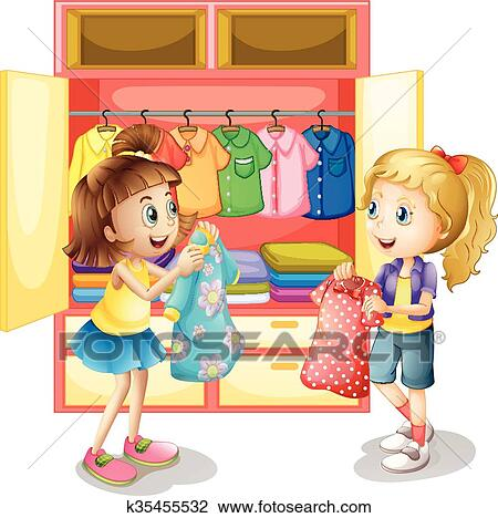 Clipart Of Two Girls Picking Out Clothes From Closet K35455532
