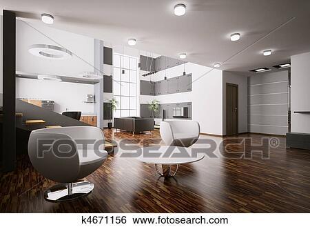 Interior Of Modern Apartment Living Room Kitchen Hall 3d Render