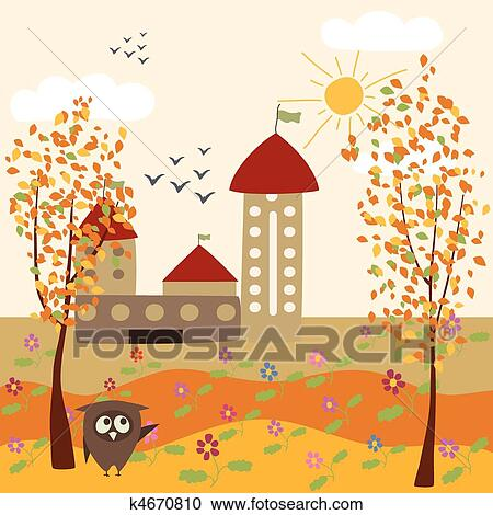 剪贴画 - 秋天风景, 同时
