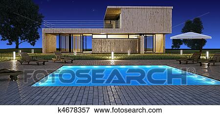 Stock Illustration of Modern house with pool k4678357 Search EPS