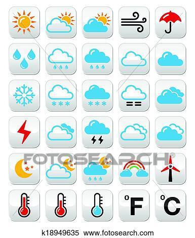 剪贴画 - 天气预报, 色彩丰富, 矢量, bu图片