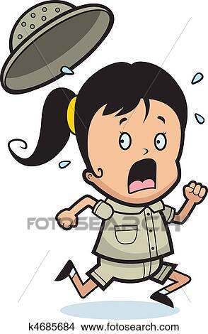 a, 卡通漫画, 孩子, 探险家, 跑, 在中, a, panic.图片
