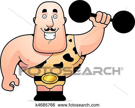 clip art of strongman dumbbell k4685766 search clipart rh fotosearch com strong man clip art free strong man clipart free