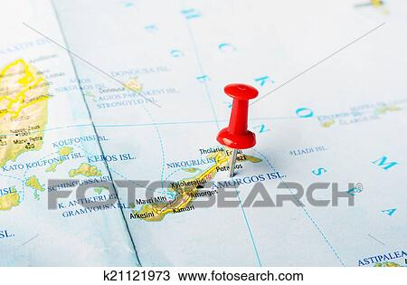 Stock Photo of Amorgos island Greece map k21121973 Search Stock
