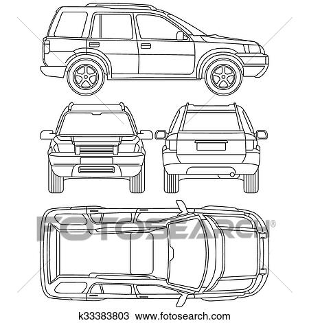 Clipart of car truck suv 4x4 line draw rent damage condition car line draw insurance rent damage condition report form blueprint malvernweather Gallery