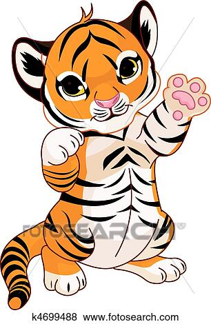 clip art of cute playful tiger cub k4699488 search clipart rh fotosearch com cute tiger cub clipart Cute Cartoon Tigers