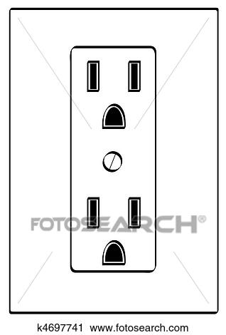 Clipart Of Electrical Power Outlet K4697741