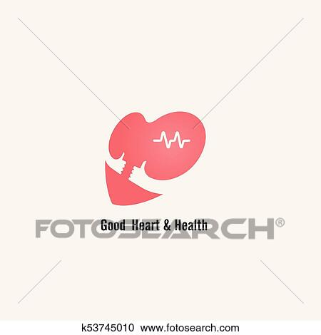 Clipart Of Heart Sign And Hands Icongood Heart Health Concept