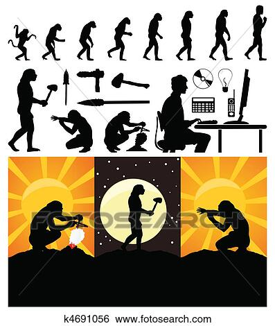Clip Art of Evolution from a monkey to the person. A vector ...