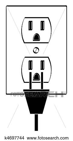 Drawings of electric or power outlet outline with plug k4697744 ...