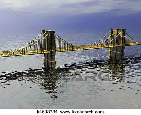 手绘图 - 金色, 桥梁