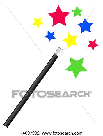 clip art of magic wand with bright stars k4697902 search clipart rh fotosearch com free clipart magic wand