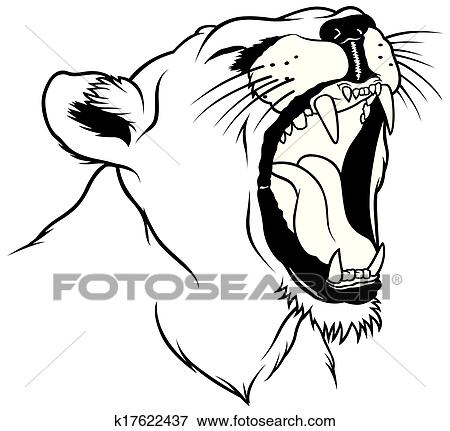 clip art of lioness head k17622437 search clipart illustration rh fotosearch com lioness clipart free lioness head clipart