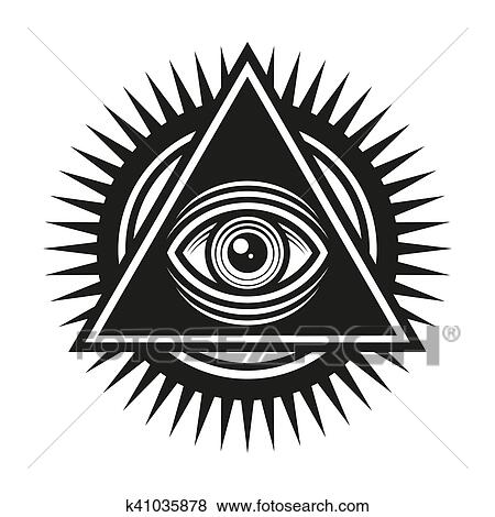Clip Art Of Masonic Symbol All Seeing Eye Inside Pyramid Triangle